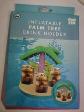 npw Inflatable PALM TREE Drink Holder Float, Holds 4 drinks, Beach/Pool * NEW *