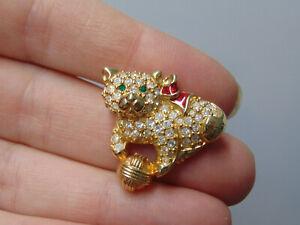 Swarovski Crystal Swan Signed Kitty Cat Brooch Pin