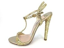 5ebacd67ba NEW Miu Miu Gold Metallic Glitter Leather T Strap strappy sandals Sz 38.5
