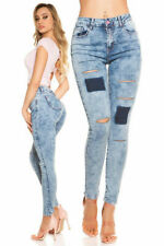 Womens Ripped Jeans W24 8 36 S Skinny Acid Wash Light Blue Patches Rips Pants