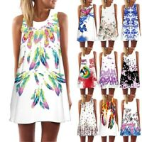 Women Female Sleeveless Summer Beach Casual Loose Mini Shirt Beach Tank Dress