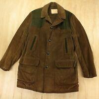 vtg 60s 70s BONDS corduroy coat jacket MEDIUM brown wide wale lined usa