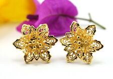 CLEARANCE GORGEOUS THAI FLOWER STUD EARRINGS 22K 18K Yellow Gold GP Jewelry B94