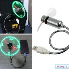 Ventilador USB LED Reloj Con Cuello de Cisne Flexible Ajustable Para PC Portátil
