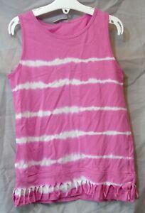 Girls Matalan Pink White Tie-Dye Tasselled Sleeveless Vest Top Age 7 Years