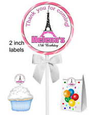 40 EIFFEL TOWER PARIS BIRTHDAY PARTY STICKERS ~ for goody bags, seals, lollipops