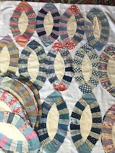 Hand Stitched Lot of 38 Quilt Blocks 1940s Vintage Wedding Ring Quilt Blocks