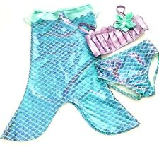 Disney Little Mermaid Swimsuit 3 Pc Girls/Kids Sz 4 Top Bottom & Mermaid Tail