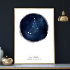 Wall Art Print Moon Poster 12 Watercolour Zodiac Star Signs & Dates A4 A3 A2 A1