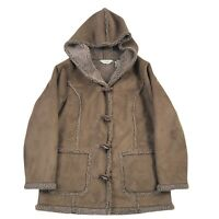 LL Bean Womens Jacket Faux Suede Sherpa Lined Hooded Coat Petite Small Brown EUC