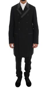 NEW DOLCE & GABBANA Suit Black Wool Stretch 3 Piece Two Button EU48 / US38