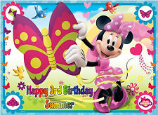 Edible Disney Minnie Mouse Pink Polka Dot Butterfly Icing Birthday Cake Topper