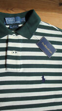 NEW £75 Ralph Lauren Green-Cream Stripe 100% Cotton Slim-Fit Polo Shirt; 36-38/S