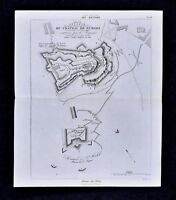 1859 Didot Freres Military Map - Siege of Burgos Castle Spain Battle Napoleon