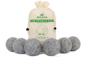 Organic Wool Dryer Balls - Grey 6 XL Premium Quality Reusable Natural Fabric New
