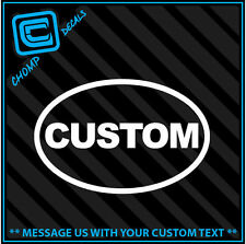 Qty2 Oval CUSTOM / personalize Euro Funny car vinyl decals stickers