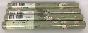 Lot Of 4 Waverly Double Rolls Wallpaper Green Floral Vines Pattern 5505703