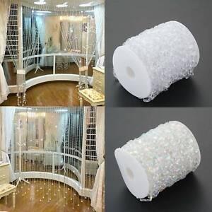 99FT/Roll Acrylic Crystal Bead Curtain Garland Diamond Wedding Party DIY Decor