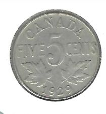 1929 Canadian Circulated King George V Five Cent Nickel Coin!