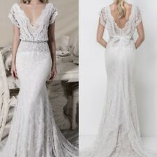 Wedding Dresses Bridal Ball Gowns Cap Sleeves Mermaid Sheath Column V Neck 2017