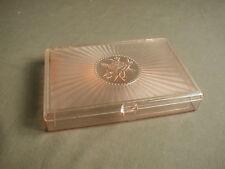 VINTAGE LUCITE ROSE MEDALLION VANITY TRINKET BOX WITH HINGED LID - PINK - ow