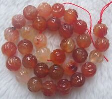 """12mm Natural Agate Carved Rose Loose Beads 15"""""""