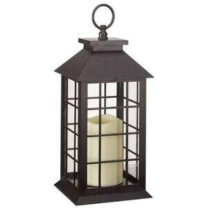 CrazyGadget® Battery Operated Lantern LED Candle Indoor Outdoor Lamp