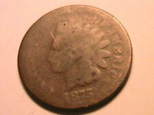 1875 Indian Head Penny (AG) About Good Smooth Original Bronze Small Cent US Coin