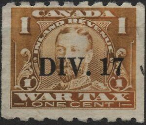 "Canada VanDam 1915 FWT17a 1c Orange War Tax coil ""DIV. 17"" precancel used"