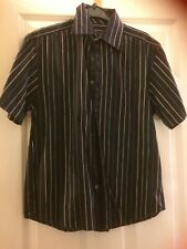 "Next,size  S 40"",short sleeve shirt,black with stripes,blues,grays,cotton,M/Wash"