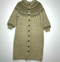 Handknit Fair Isle Sweater Coat Cardigan Women's Size M Tan Brown Square Buttons
