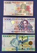Sierra Leone : 1000, 5000,10000 Leones 2010 UNC, Set of 3 Banknotes
