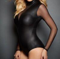 Damen Wet Look Body Overall Catsuit Playsuit Reißverschluss schwarz