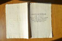 ANTICO DOCUMENTO MANIFESTO STATO GENERALE DE BENI TERMIDORO TORINO 1 AGOSTO 1800