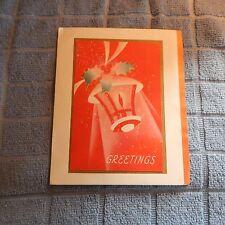 Vintage Christmas Card, A-Meri-Card O-2520A, Red Candle Lantern GREETINGS