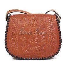 PATRICIA NASH Salerno Saddle Bag FLORENCE Basketweave Tool LEATHER Purse NWT