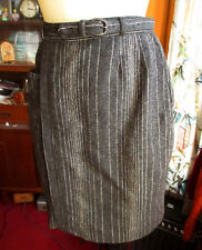 """SMALL 24W 24"""" True VTG 50s MAYFAIR CHARCOAL GREY PINSTRIPE WOOL BELTED MCM SKIRT"""