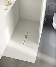 begehbare Dusche 140x100 cm mit Duschrinne Mineralguss-Dusche 100x140 - kürzbar