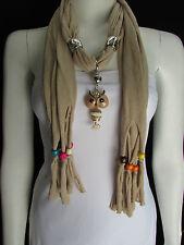 Women Beige Sassy Soft Scarf Long Necklace Multicolors Wood Beads Owl Pendant