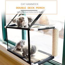 Cat Window Sunbath Perch Hammock Bed Double Deck Velvet Mat Seat 20KG 44lbs S6T7