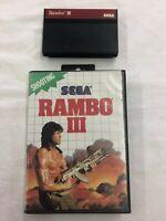 Sega Master System Rambo III Game Cartridge and Box Shooting
