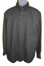 St. John's Bay Mens Dress Shirt Button Front Pinstripe Charcoal Gray Easy Care L