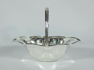 Antique Edwardian 1905 Sterling Silver Small Swing Handle Basket Bowl Dish Plate