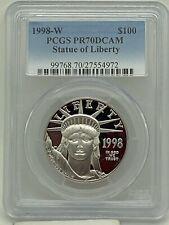 1998w $100 1 Oz Platinum Eagle PCGS PR70DCAM Statue Of Liberty Ounce Plat Proof