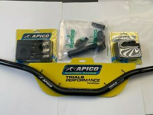 TRIALS APICO OVER SIZE HANDLEBARS, CLAMPS,BAR ENDS AND DOMINO THROTTLE