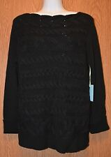 Womens Black Cynthia Steffe Soft Corded Knit Sweater Size Medium NWT NEW $89