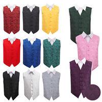 DQT Boys Waistcoat Woven Floral Paisley Wedding Tuxedo Vest FREE Pocket Square