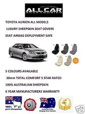 Sheepskin Car Seatcovers for a Toyota Aurion , 5 colours, seat  Airbag safe.