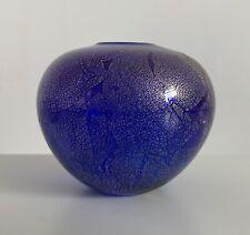 Isle of Wight Studio Glass Blue & Gold/Silver Azurene Globe Vase with Label