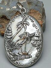 Großes 800 Silber Medaillon Muschel mit Silber Montur Landschaft in Japan /A670